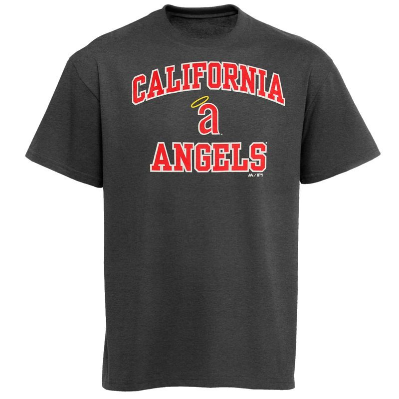 Majestic California Angels Cooperstown Collection Heart and Soul T-Shirt - Charcoal