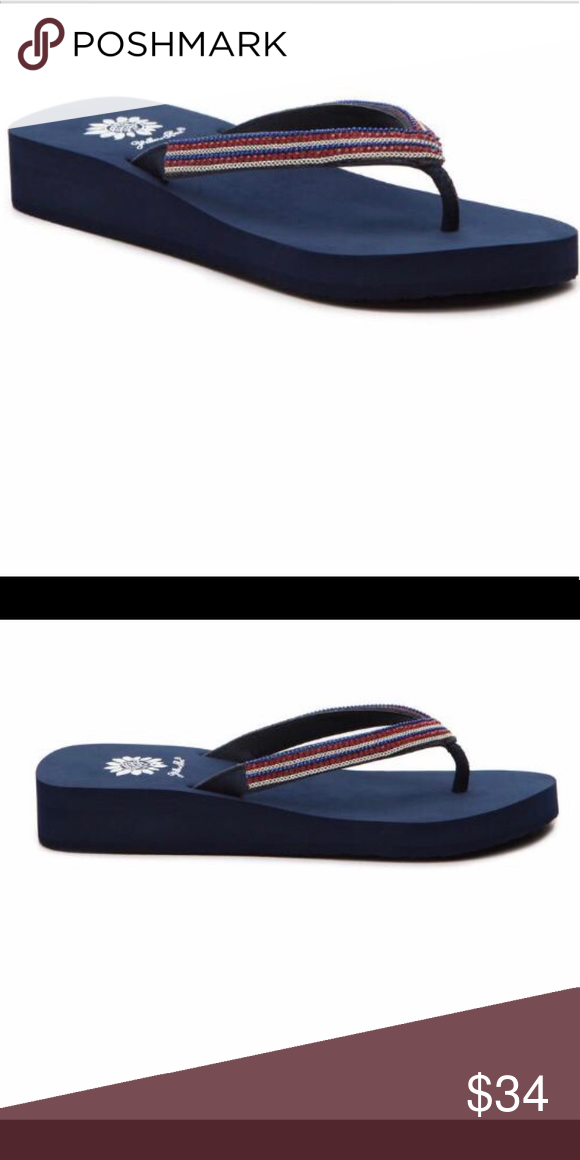6514f8c9081655 Yellow Box Navy Blue sole Sandal Yellow Box BRelynn style red white and blue  rhinestones one