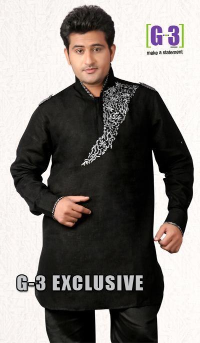G3 Fashions Black Linen Short Pathani Kurta  Product Code : G3-MSP1033 Price : INR RS 2525