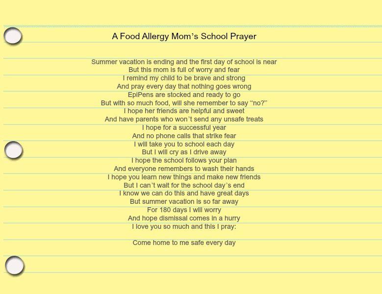 Food allergy school prayer … | Prayers | Food …