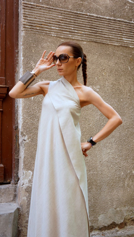 XXL,XXXL Maxi Dress / Natural  Linen Kaftan  Dress / One Shoulder Dress / Extravagant Long  Dress / Party Dress  by AAKASHA A03144 by Aakasha on Etsy https://www.etsy.com/listing/233537861/xxlxxxl-maxi-dress-natural-linen-kaftan