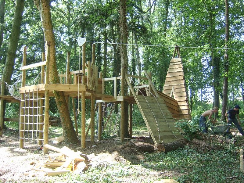 Wooden play equipment swings forts scramble nets for Garden decking with rope