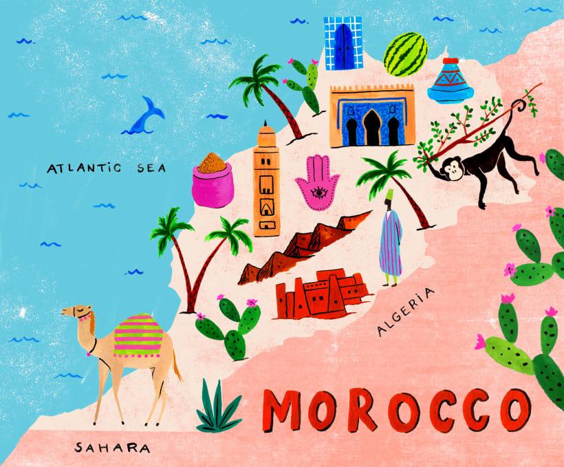 Mapa Ilustrado De Marruecos A Project By Tania Garcia Domestika Mapas Ilustrados Marruecos Mapas De Viaje