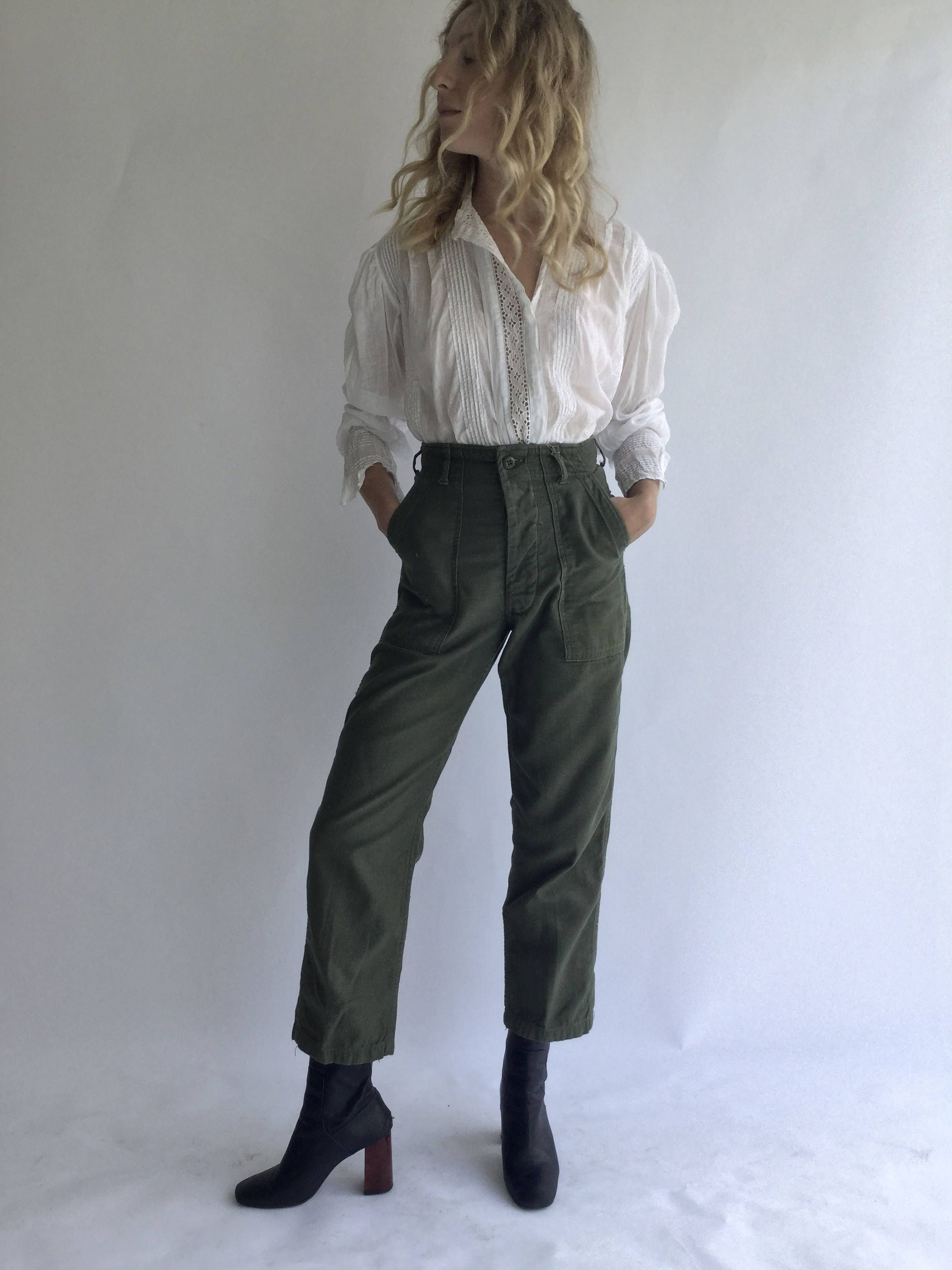 8a305e4397 Vintage 27 28 Waist Slim Olive Green Army Pants Trousers | 80s Utility  Fatigues | OG 107 Patch see Size RUN