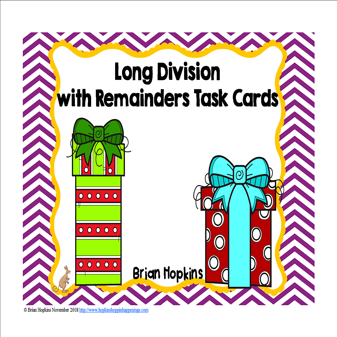 Christmas Ts Long Division With Remainders Task Cards