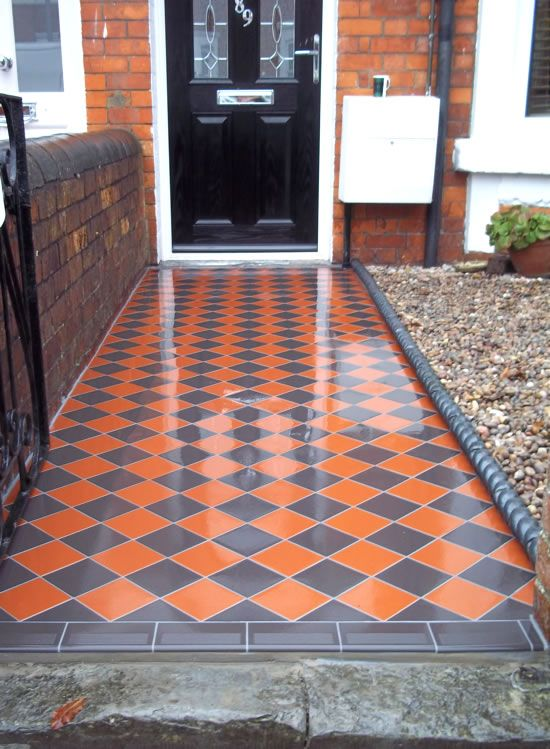 Victorian red and black path tiles google search porch for Edwardian tiles for porch