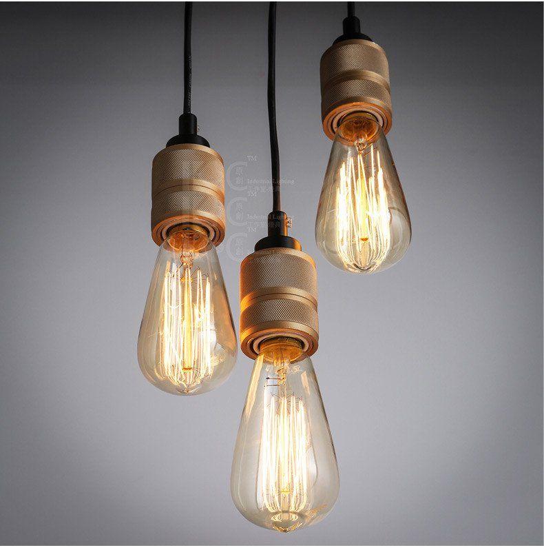 hooked industrial brass single bare edison bulb pendant light - Edison Bulb Pendant