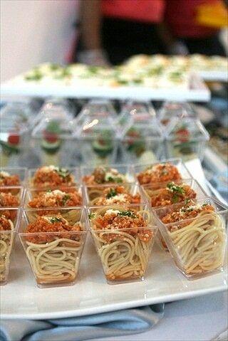 mini spaghetti cute appetizer catering ideas food bridal rh pinterest com