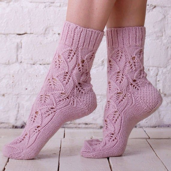 Knitted sock Pink wool sock Hand knit socks Lace socks Pink women knit socks Casual socks Handmade socks Autumn knit socks Colorful socks