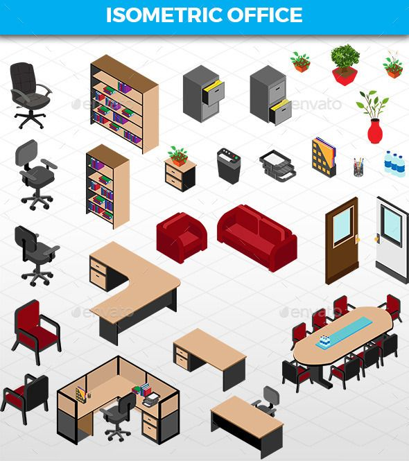 isometric office furniture vector collection. Isometric Office Furniture Vector Collection -
