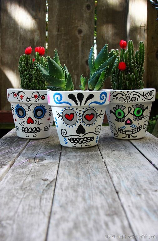 DIY: Day of the Dead Sugar Skull Planters   Planters and ...