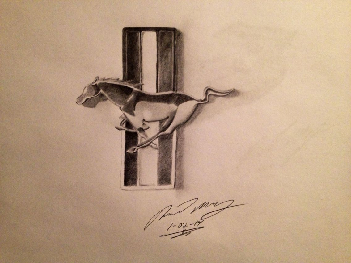 Pencil drawing of a ford mustang logo