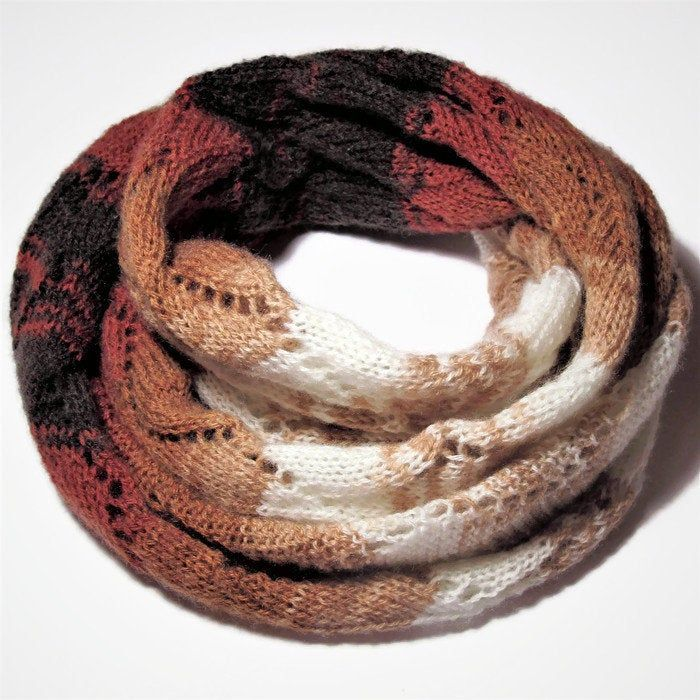 Photo of infinite scarf , snood, gradient scarf, snood for women, hand knitted scarf, knit scarf women
