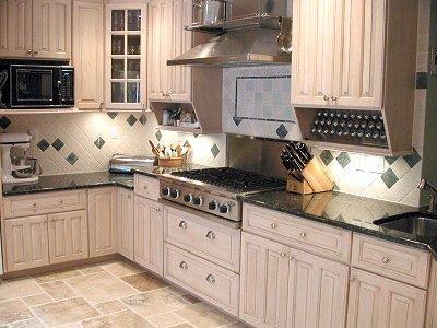 interesting kitchen granite countertops | Interesting: backsplash, varied counter heights, and ...