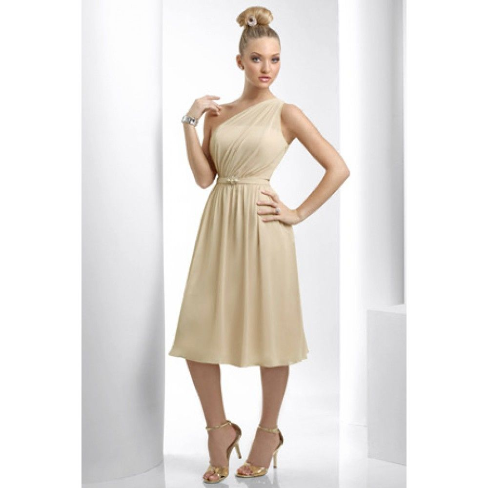 Sheath asymmetric draped chiffon knee length champagne for Champagne tea length wedding dresses