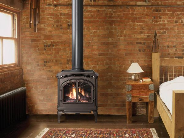 free standing gas fireplace stove on the farm