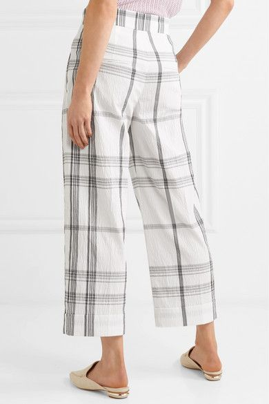 Checked Crinkled Cotton-blend Pants - White Brunello Cucinelli DmTcf