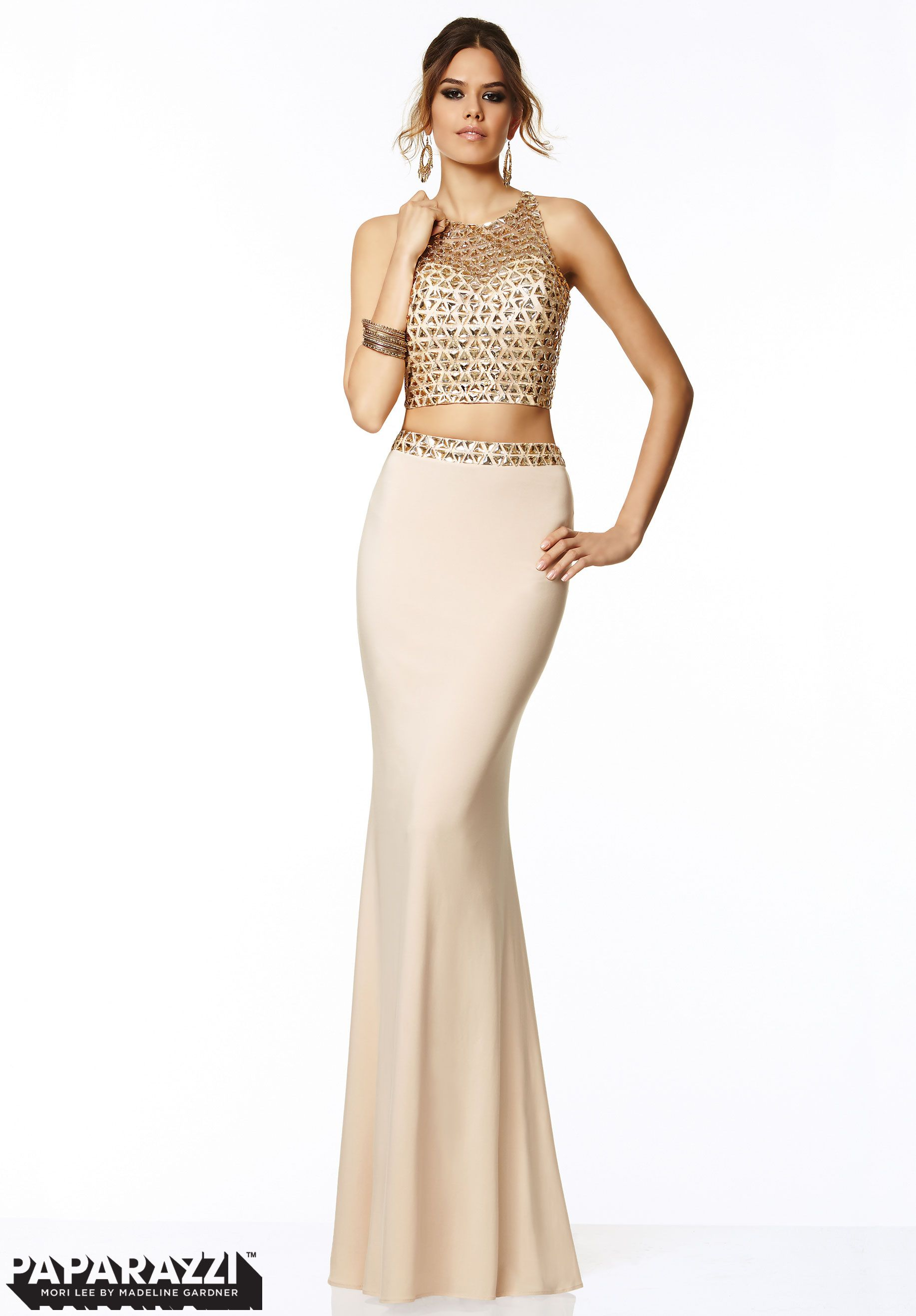 97004 Prom Dresses / Gowns Two Piece Beaded Mesh and Jersey Cream ...