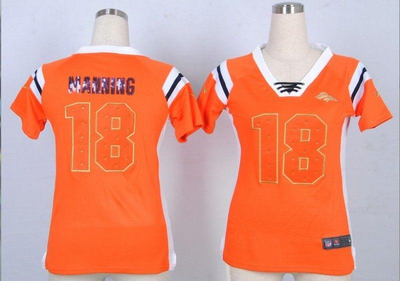2014 Women's Nike NFL Denver Broncos #18 Peyton Manning Orange Fashion Rhinestone Sequins Jerseys