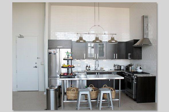 Stainless Steel Kitchen Island IKEA | Gwyneth Paltrow Goop Nashville Loft  Kitchen 590jn060710 Celebrity .