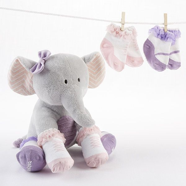 An adorable plush elephant with pink and white chevron print ears baby aspen girls tootsie in footsies elephant and socks gift set with 2 pairs faux shoe socks and plush months is a gorgeous gray elephant bearing negle Choice Image