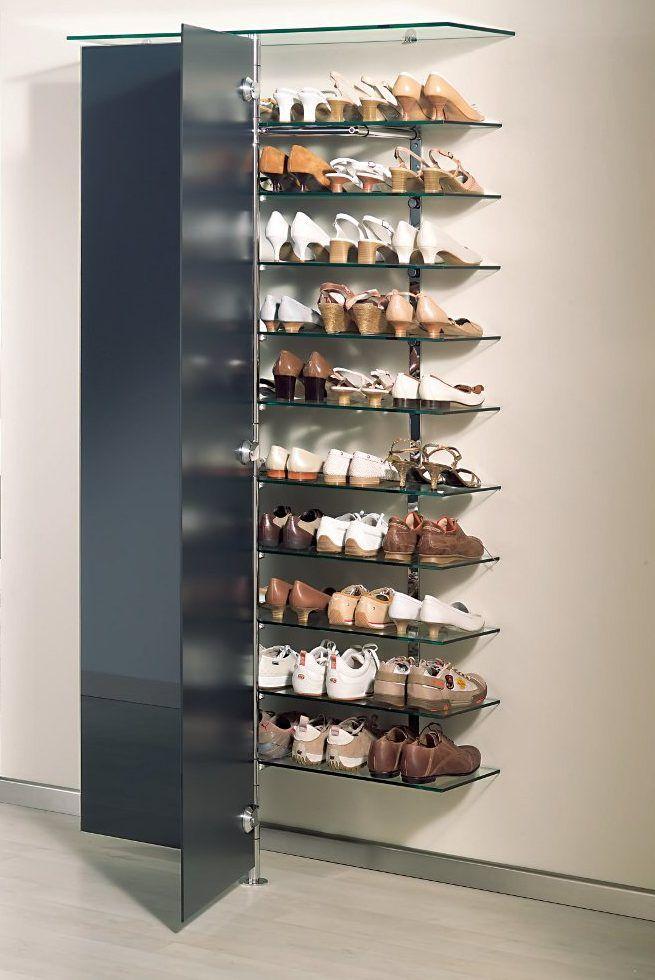 Elegantes Schuh Wandregal Mit 2 Glasturen Anthrazit Und 10 Regalboden 8 Mm Klarglas Fur Schuhe Und Utensilien Schrank Schuhablage Regal Wandregal