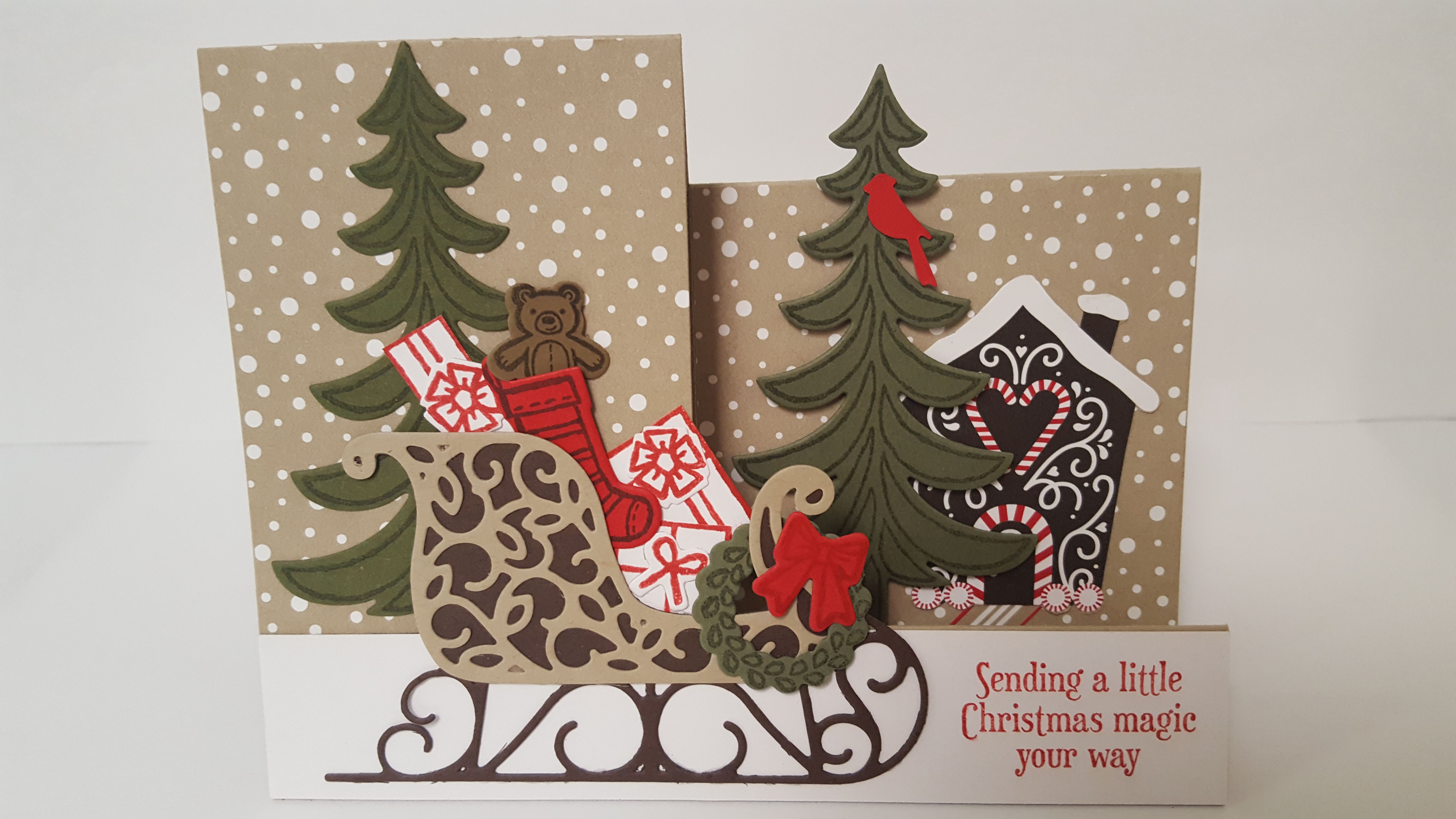 Stampin Up Santa's Sleigh and Step Card Fold Christmas