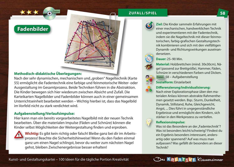 Die Kinder sammeln Erfahrungen mit einer mechanischen, handwerklichen Technik und experimentieren mit der Fadentechnik. Indem sie die Nageltechnik mit dieser feinmotorischen, farbig-grafischen Gestaltungstechnik kombinieren und sich mit den vielfältigen Dynamik- und Richtungswirkungen auseinandersetzen.___________________________________________________________________________________Hinweis: Dieses Material ist Teil der