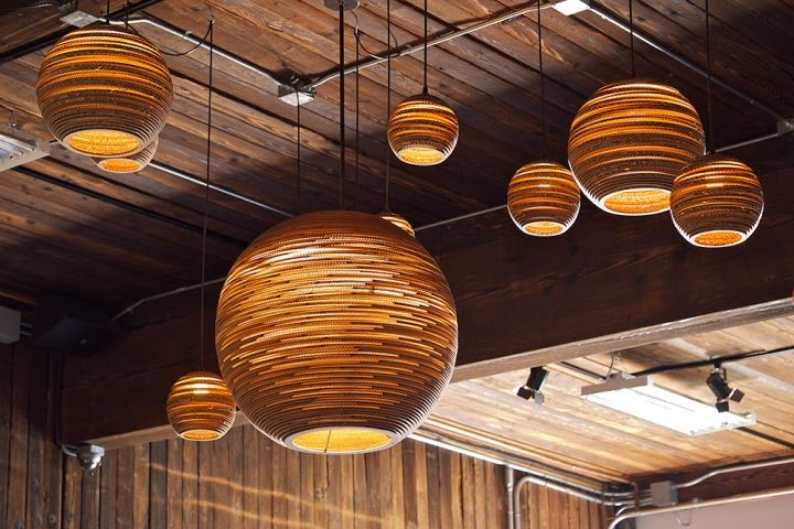 Scraplights Drum Series lamps by Graypants pendant cardboard