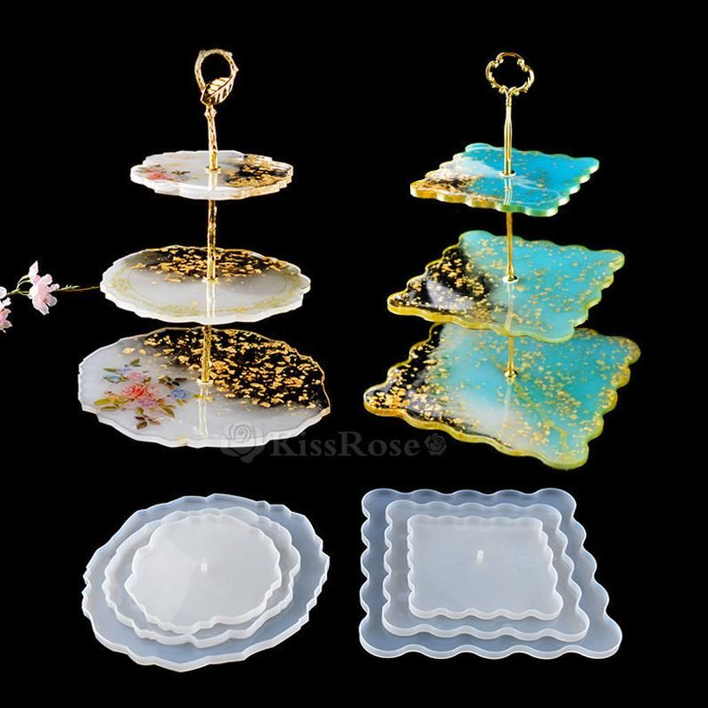 Plate Molds Plate Resin Coasters DIY Epoxy Silicone Jewelry Craft Tool Tray Mold