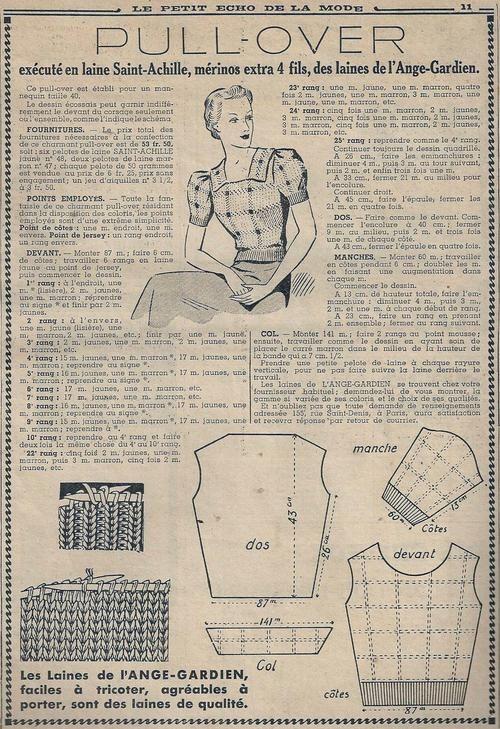 Le Petit Écho de la Mode - 26 septembre 1937http://isabellurette.tumblr.com/archive Knit blouse pattern