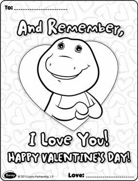 Barney Valentines Card  Barney  Friends Coloring Pages for Kids