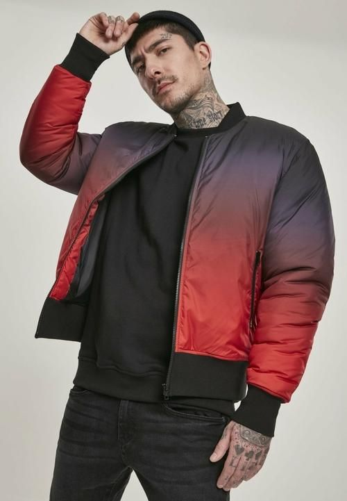 Gradient Bomber Jacket - FIRE RED / BLACK / S