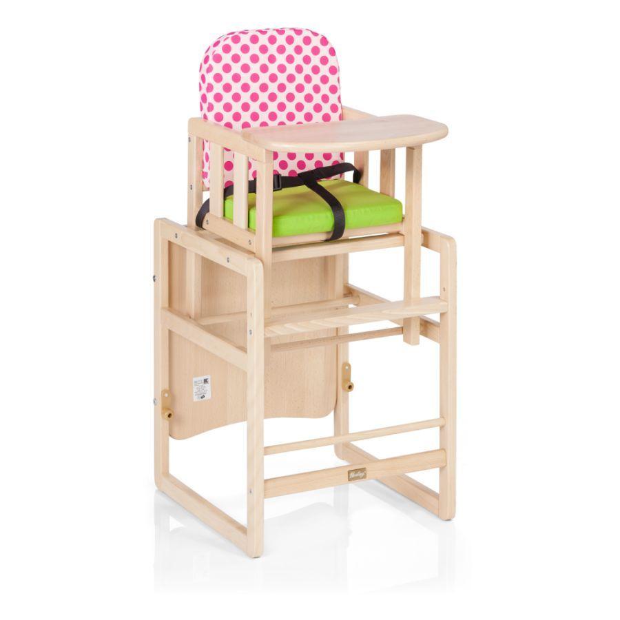 Herlag Kinderstoel Combi Set Tx Iv Naturel Groen Roze Gestippeld