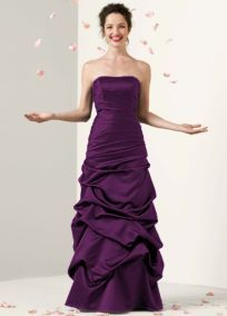 Our maid-of honor Dresses- strapless satin pick up ball gown -PLUM