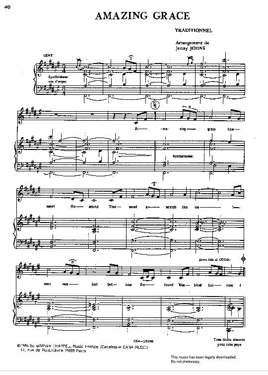 Amazing Grace Nana Mouskouri Klick Auf Die Noten Um Reinzuhoren Gesang Noten Nana Mouskouri