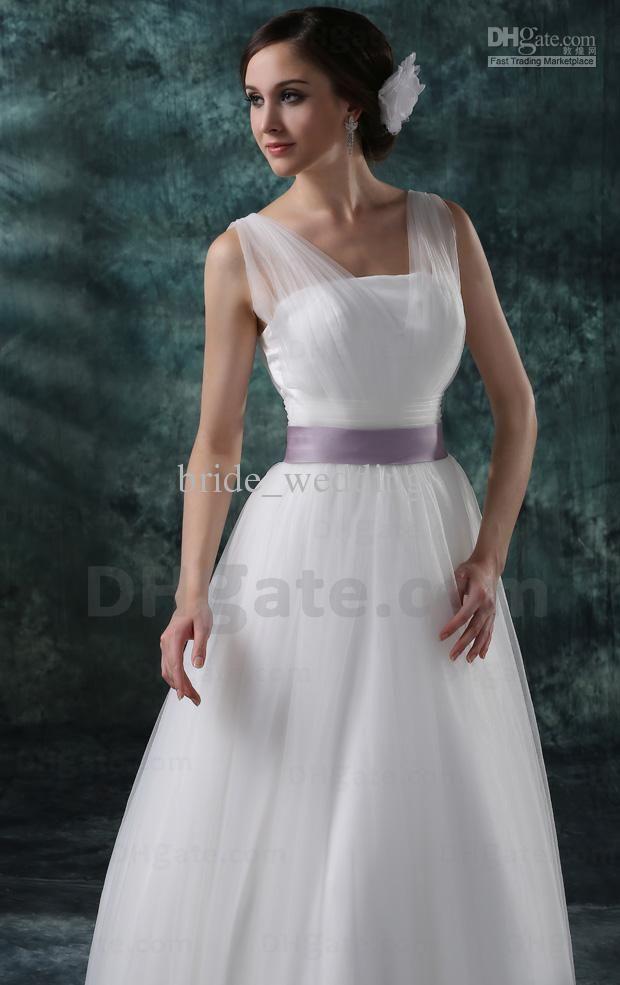 White And Lavender Wedding Dress