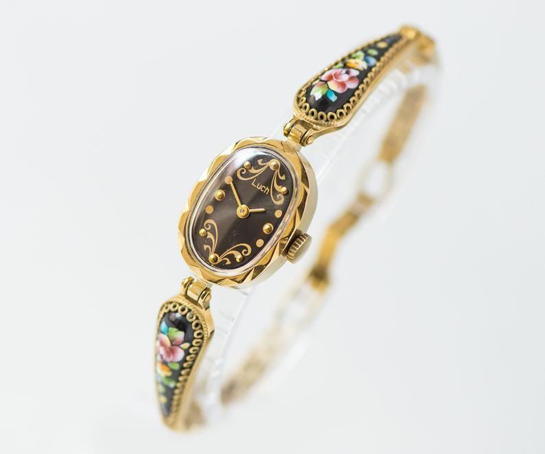 Boho women watch bracelet ORIS. Vintage cocktail watch Swiss made retro. Evening watch for women jewelry gift. New genuine leather strap