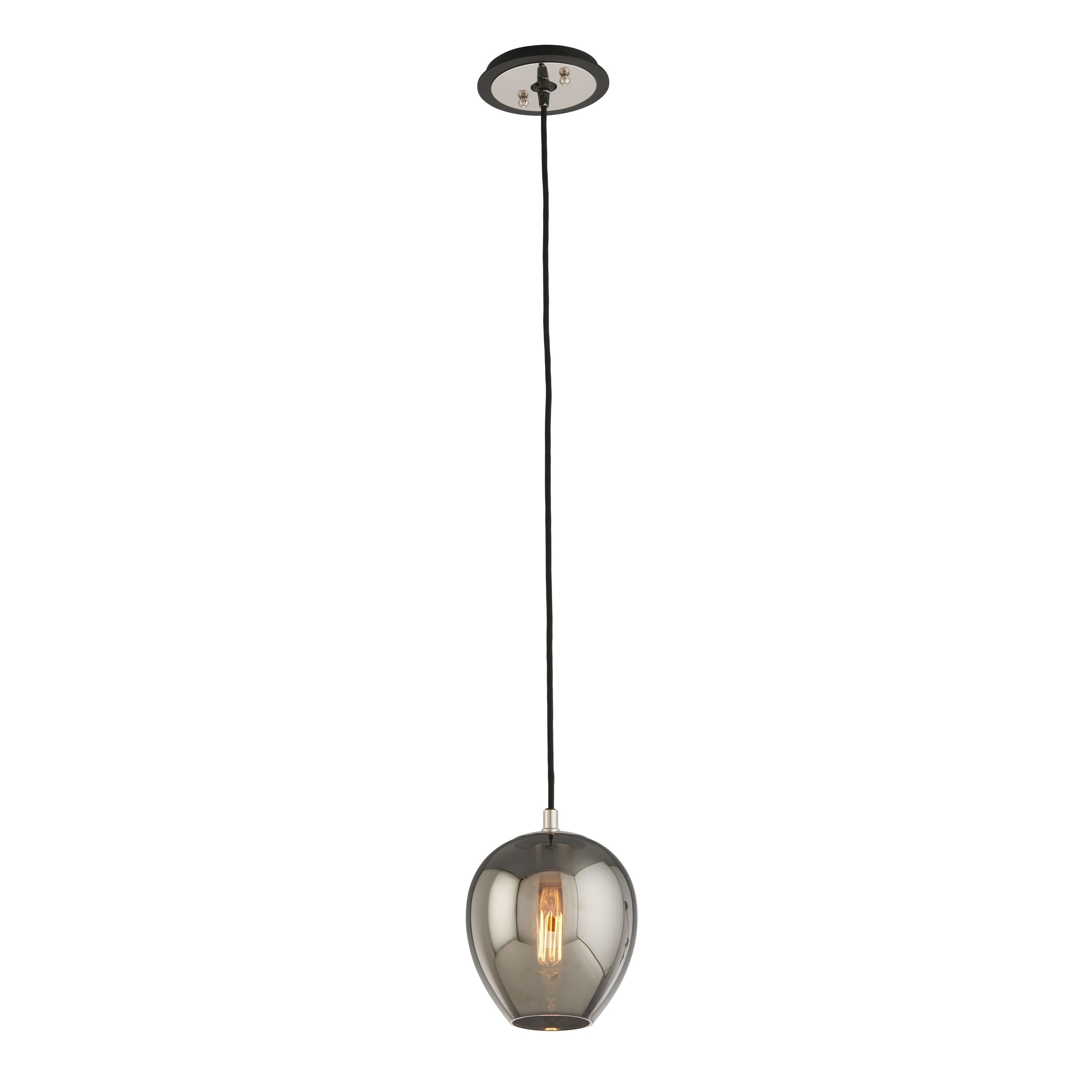 $178 The Odyssey 1-light Mini Pendant comes in a carbide black and polished nickel finish and a plated smoked shade. This fixture is made of hand worked wrought iron and glass material.