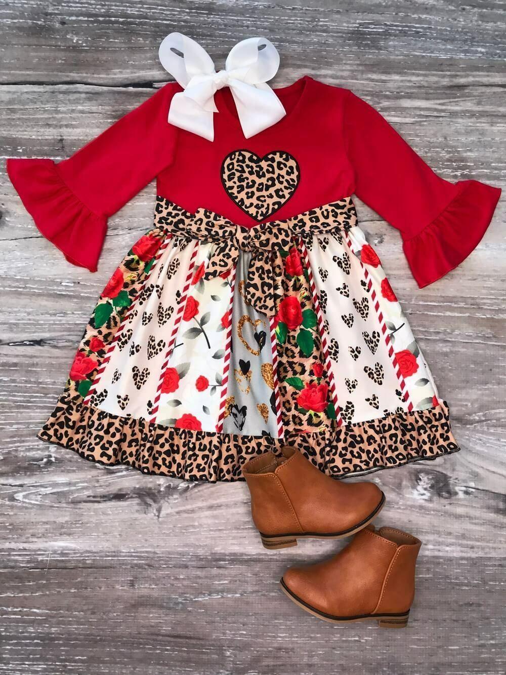 Girls Toddler Boutique Valentine S Day Dress Cheetah Heart Twirl 2t 3t 4t 5 6 7 Dress Honey Girls Long Sleeve Dress Pattern Girls Long Sleeve Dresses Long Sleeve Dress Pattern [ 1333 x 1000 Pixel ]