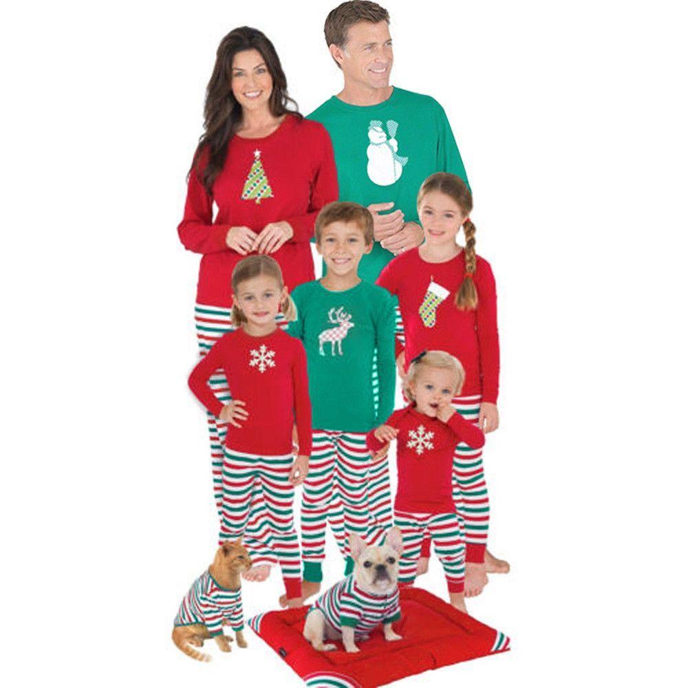 6ad44586e Christmas XMAS Women Men Kids Baby Family Pajamas Set Deer Sleepwear ...