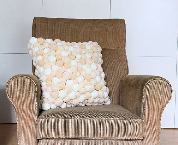 Pom Pom Pillow, Dorm Pillow, Beige Cushion, Pompom Pillow, Handmade Pom Pom  Pillow, Cream Pom Pom Cushion, Sofa Cushion, Throw Pillow