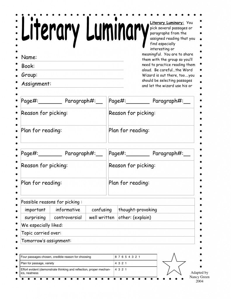 Worksheets Literature Circles Roles Worksheets literary luminary classroom ideas pinterest literature luminary