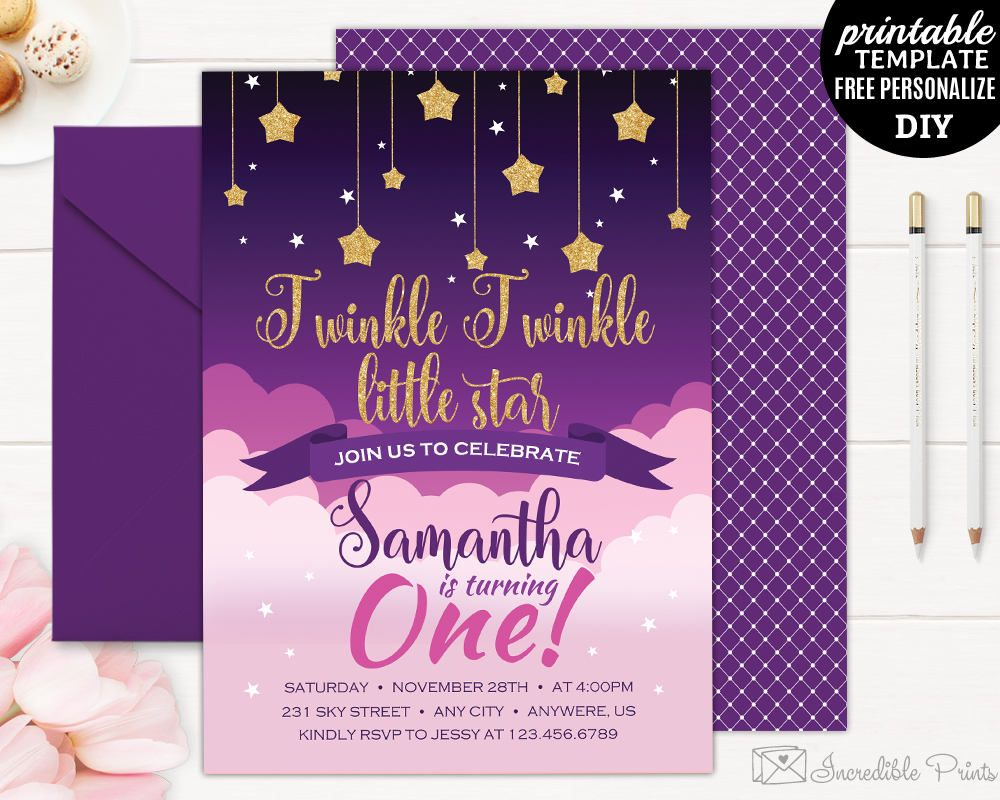 Twinkle Little Star Birthday Invitation Template Girl First Invitatio By