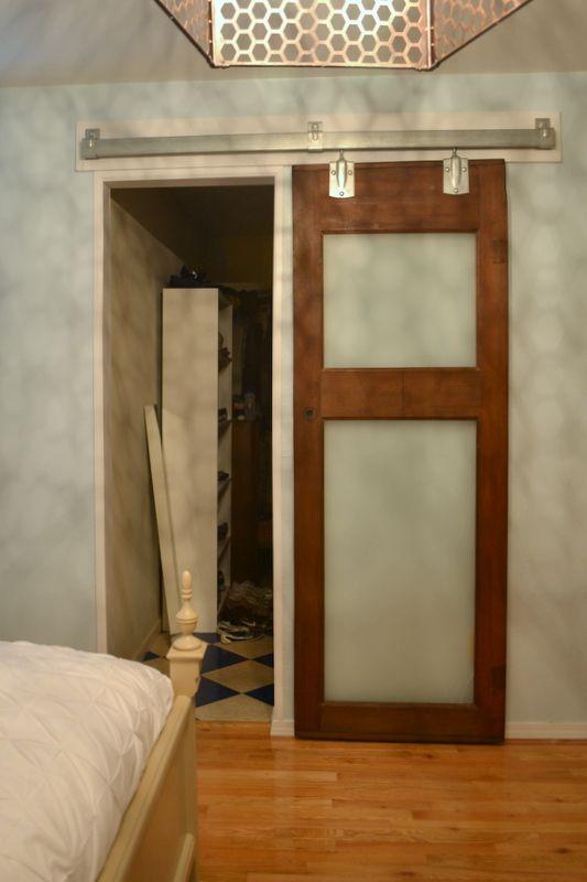 using a door as sliding door the cozy home diy barn door diy rh pinterest com
