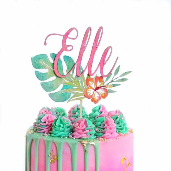 Custom Tropical Watercolor Cake Topper Birthday Cake Topper Cake