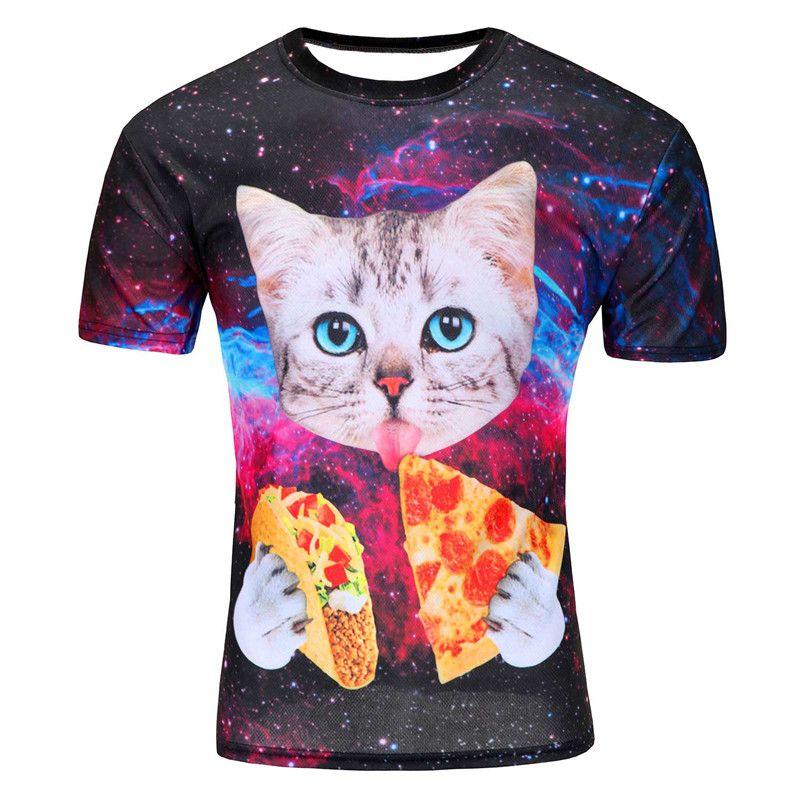 109f46bf 2016 Men Fashion Animal Creative T-Shirt, Lightning/smoke lion/lizard/water  droplets printed short sleeve T Shirt