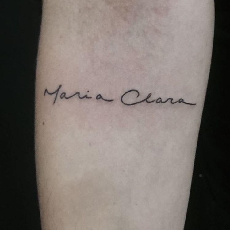 Maria Clara Tatuagem Por Fernanda Prado E Caligrafia Por