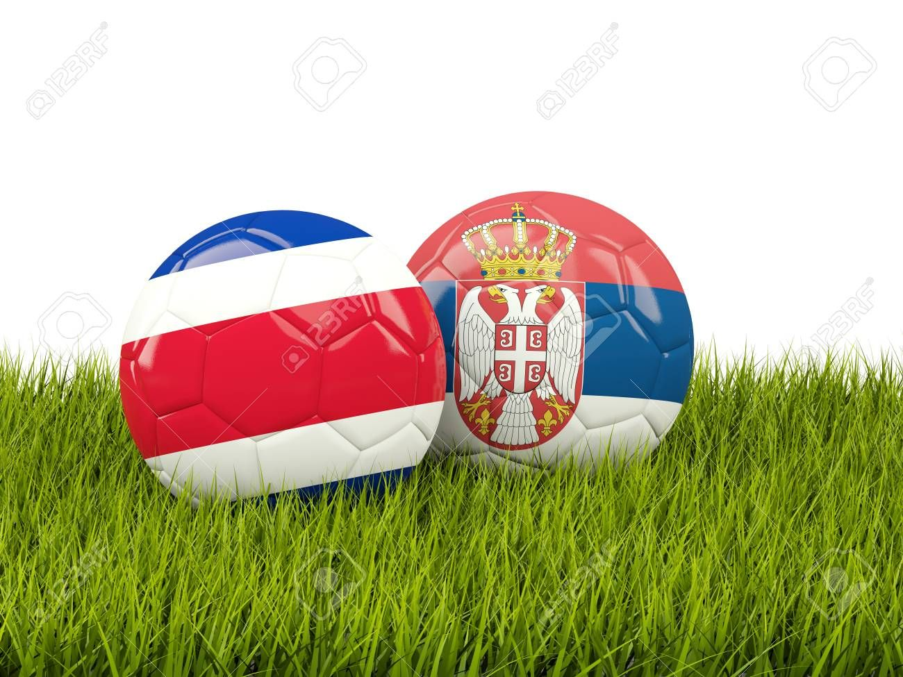 Costa Rica vs Serbia. Soccer concept. Footballs with flags on green grass. 3D illustration , #ad, #Soccer, #concept, #Serbia, #Costa, #Rica