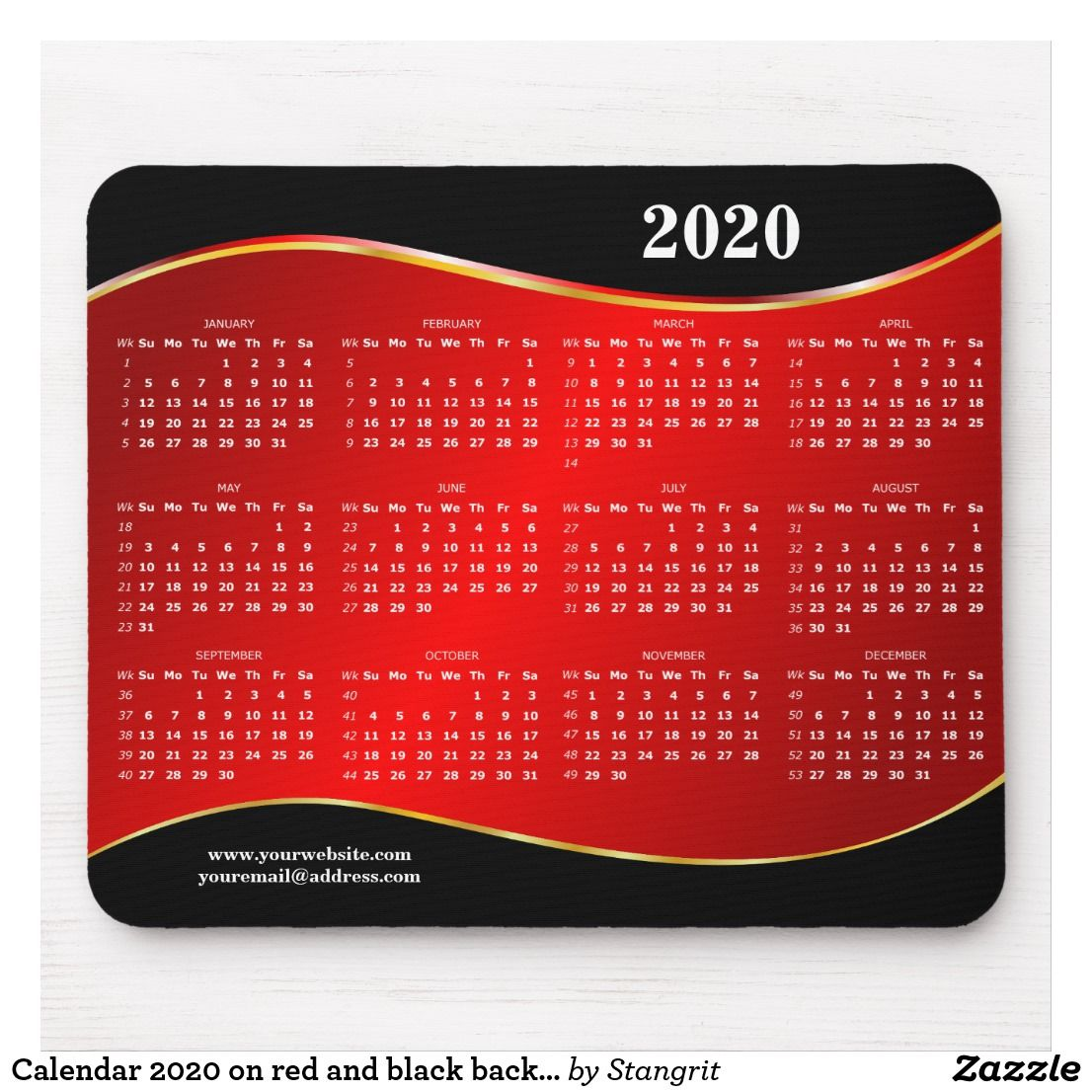 Calendar 2020 On Red And Black Background Mouse Pad Zazzle Com Red And Black Background Custom Holiday Card Calendar 2020
